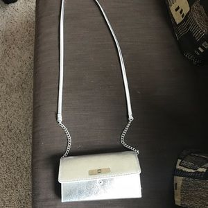 Silver Crossbody Purse with Portable charger!